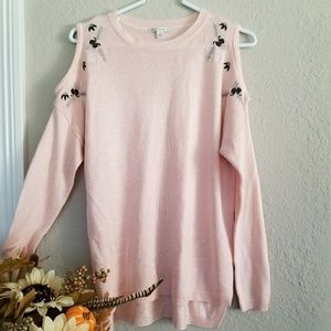 Cato pink cold sholder sweater